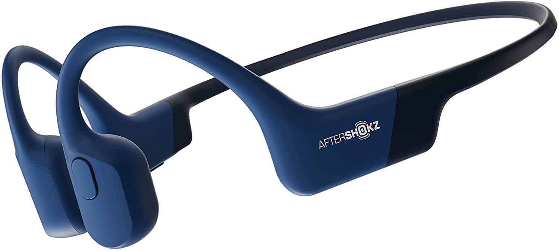 close up image of AfterShokz Aeropex Headphones, blue