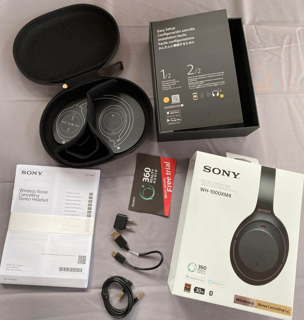 unboxed components of the Sony WH-1000XM4 headphones