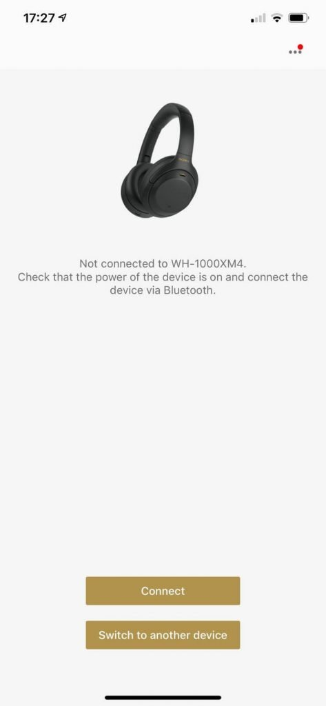 image of the Sony WH-1000XM4 headphones app in the connect to device option part of the app
