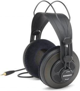 Samson SR850 headphones with mic, black in color