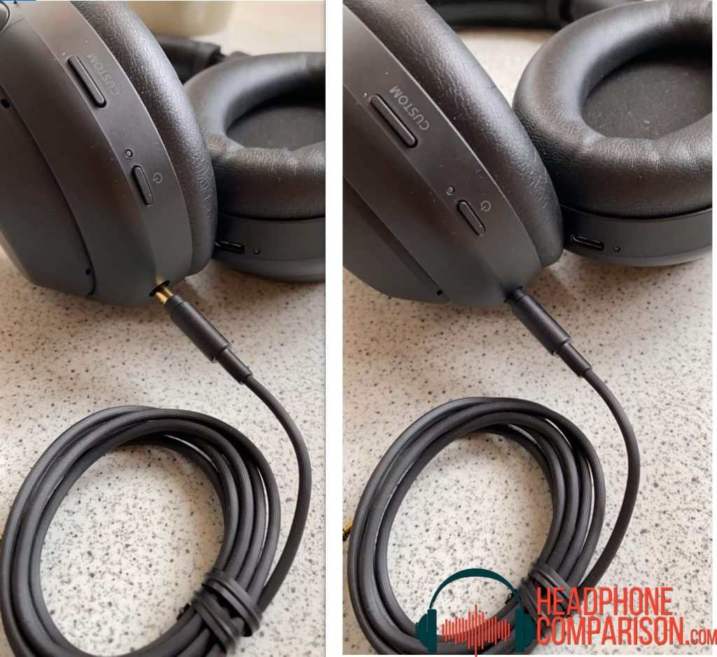 image of black headphones with 3.5 mm jack properly plugged into the headset properly along with another image side by side with jack not properly plugged into the audio port